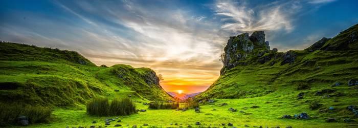 sunrise between hills