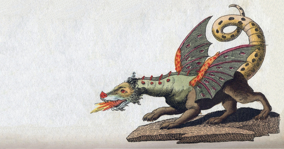 Western dragon with four legs and wings breathing fire